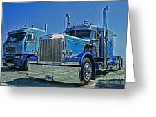 Peterbilt And Frieghtliner Greeting Card