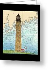 Petit Manan Island Lighthouse Me Nautical Chart Map Art Greeting Card