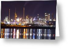 Petrochemical Plant In Night  Greeting Card