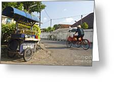 Petrol Stall And Cyclo Taxi In Solo City Indonesia Greeting Card