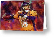 Peyton Manning Abstract 2 Greeting Card by David G Paul