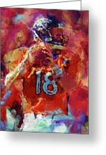 Peyton Manning Abstract 3 Greeting Card by David G Paul