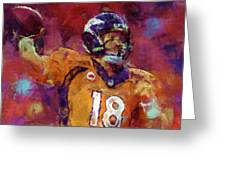Peyton Manning Abstract 5 Greeting Card by David G Paul