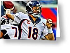 Peyton Manning Throwing The Pass Greeting Card
