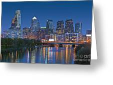 Phila Pa Night Skyline Reflections Center City Schuylkill River Greeting Card