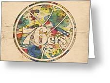 Philadelphia 76ers Retro Poster Greeting Card