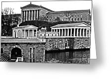 Philadelphia Art Museum At The Water Works In Black And White Greeting Card