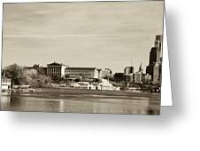 Philadelphia Art Museum With Cityscape In Sepia Greeting Card