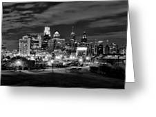 Philadelphia Black And White Cityscape Greeting Card