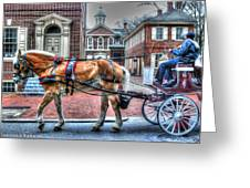 Philadelphia Carpenter's Hall Front View And Horse Greeting Card