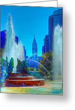 Philadelphia City Hall And Swan Fountain 2  Greeting Card