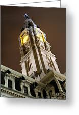 Philadelphia City Hall Clock Tower At Night Greeting Card by Gary Whitton