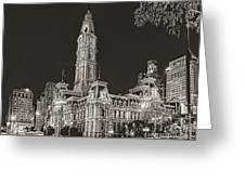 Philadelphia City Hall Mono Greeting Card