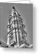 Philadelphia City Hall Tower Bw Greeting Card