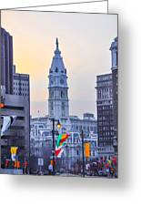 Philadelphia Cityhall In The Morning Greeting Card