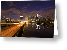 Philadelphia Cityscape From South Street At Night Greeting Card