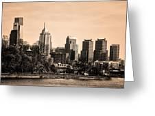 Philadelphia Cityscape In Sepia Greeting Card