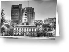 Philadelphia Independence Hall 6 Bw Greeting Card