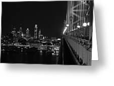 Philadelphia Night B/w Greeting Card