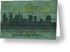 Philadelphia Pennsylvania Skyline Art On Distressed Wood Boards Greeting Card