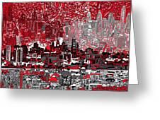 Philadelphia Skyline Abstract 4 Greeting Card by Bekim Art