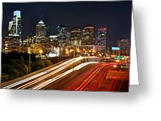 Philadelphia Skyline At Night In Color Car Light Trails Greeting Card