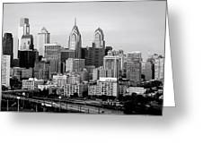 Philadelphia Skyline Black And White Bw Pano Greeting Card