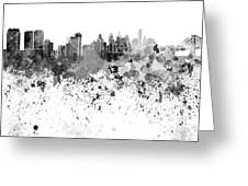 Philadelphia Skyline In Black Watercolor On White Background Greeting Card