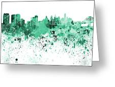 Philadelphia Skyline In Green Watercolor On White Background Greeting Card