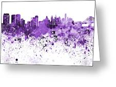 Philadelphia Skyline In Purple Watercolor On White Background Greeting Card