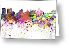 Philadelphia Skyline In Watercolor On White Background Greeting Card