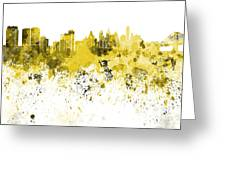 Philadelphia Skyline In Yellow Watercolor On White Background Greeting Card