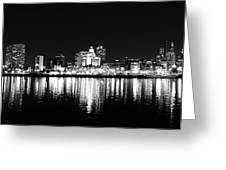 Philadelphia Skyline Panorama In Black And White Greeting Card