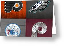 Philadelphia Sports Fan Recycled Vintage Pennsylvania License Plate Art Flyers Eagles 76ers Phillies Greeting Card