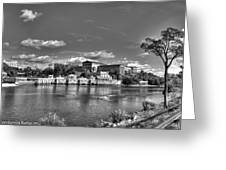 Philadelphia Water Works And Art Museum 2 Bw Greeting Card