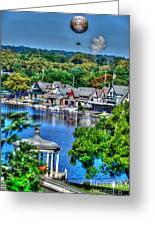 Philadelphia -waterworks And Boat House Row And Zoo Balloon Greeting Card