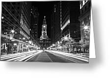 Philadephia City Hall -- Black And White Greeting Card