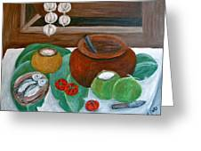 Philippine Still Life With Fish And Coconuts Greeting Card