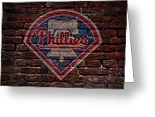 Phillies Baseball Graffiti On Brick  Greeting Card by Movie Poster Prints