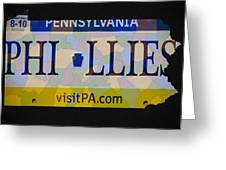 Phillies License Plate Map Greeting Card