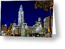 Philly City Hall At Night Greeting Card