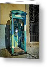 Phone Booth In Blues - Oporto Greeting Card