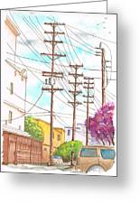 Phone Poles In An Alley - Westwood - California Greeting Card