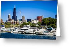 Photo Of Chicago Skyline With Burnham Harbor Greeting Card