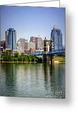Photo Of Cincinnati Skyline And Roebling Bridge Greeting Card