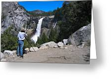 Photographer At Yosemite National Park Greeting Card