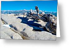 Photographer On Top Of Sentinel Dome In Yosemite Np-ca  Greeting Card