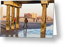 Photographer Under The Pier Greeting Card