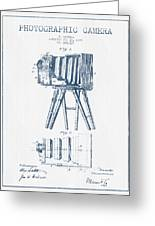 Photographic Camera Patent Drawing From 1885- Blue Ink Greeting Card