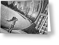 Photographing The Bean - Cloud Gate - Chicago Greeting Card
